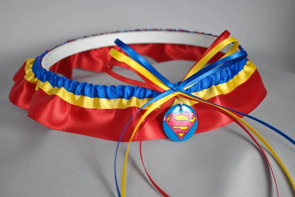 Superman Inspired Garter in Red, Yellow, and Royal Blue Satin by sugarplumgarters on Etsy