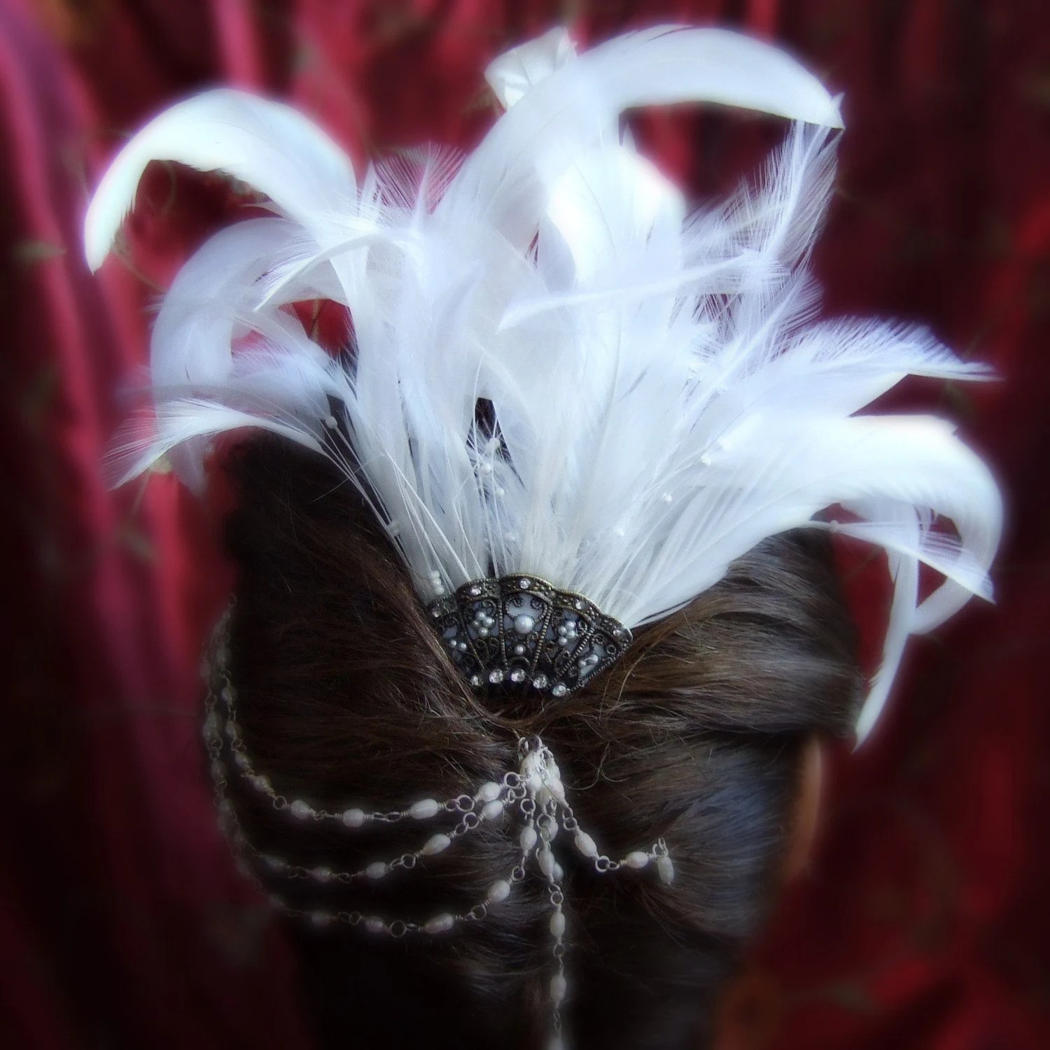 Bridal White Hackle Coque Feather Fascinator Comb