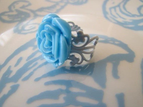 CARIBBEAN -- blue rose cabochon ring on a light blue filigree band