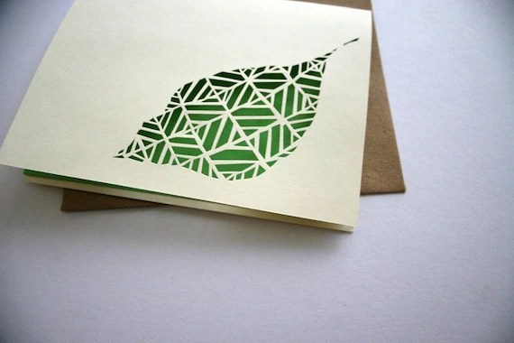 Hand cut leaf Card