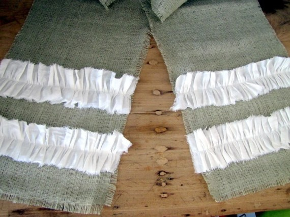 SHABBY CHIC RUNNER -- green burlap table runner with white cotton ruffles
