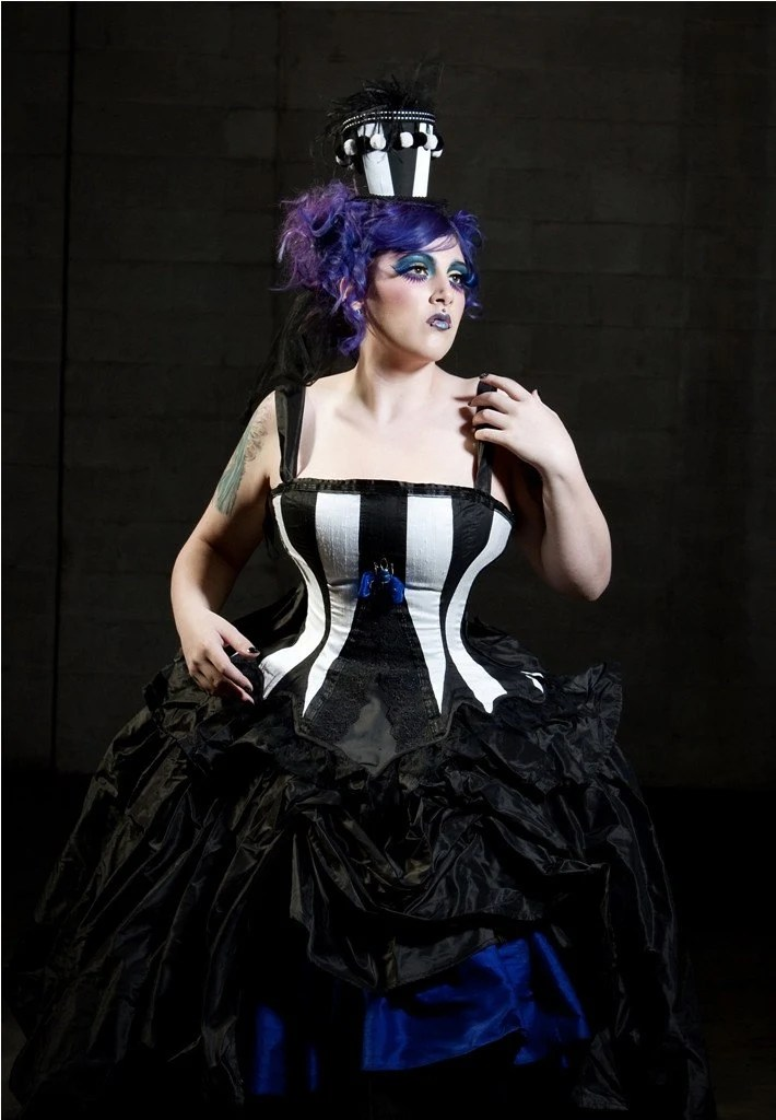Beetle Juice Wedding Dress Black and White Silk with Dark Blue Accents-Custom to your size