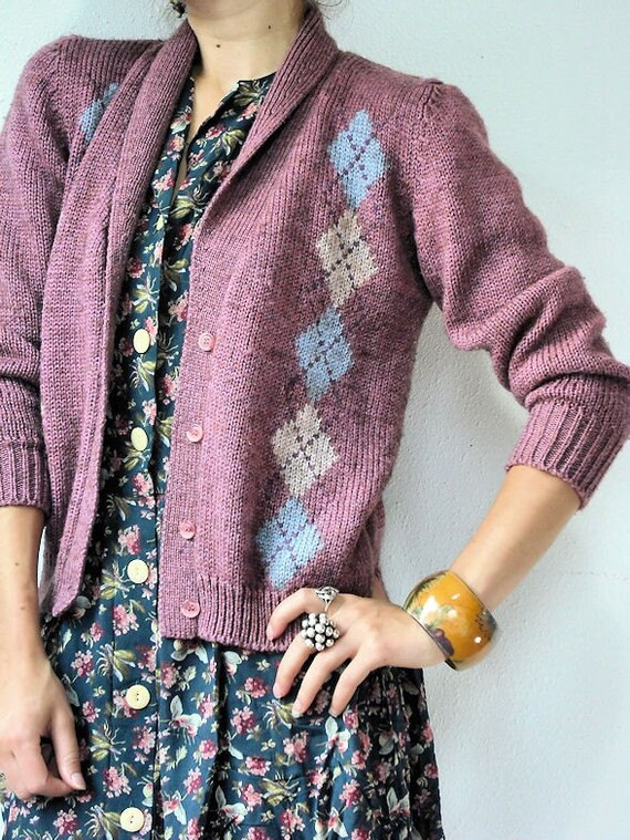 Argyle Dusty Rose Cardigan