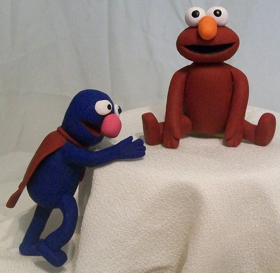 Elmo and Grover Figures, Cake Top/Decoration- MADE TO ORDER
