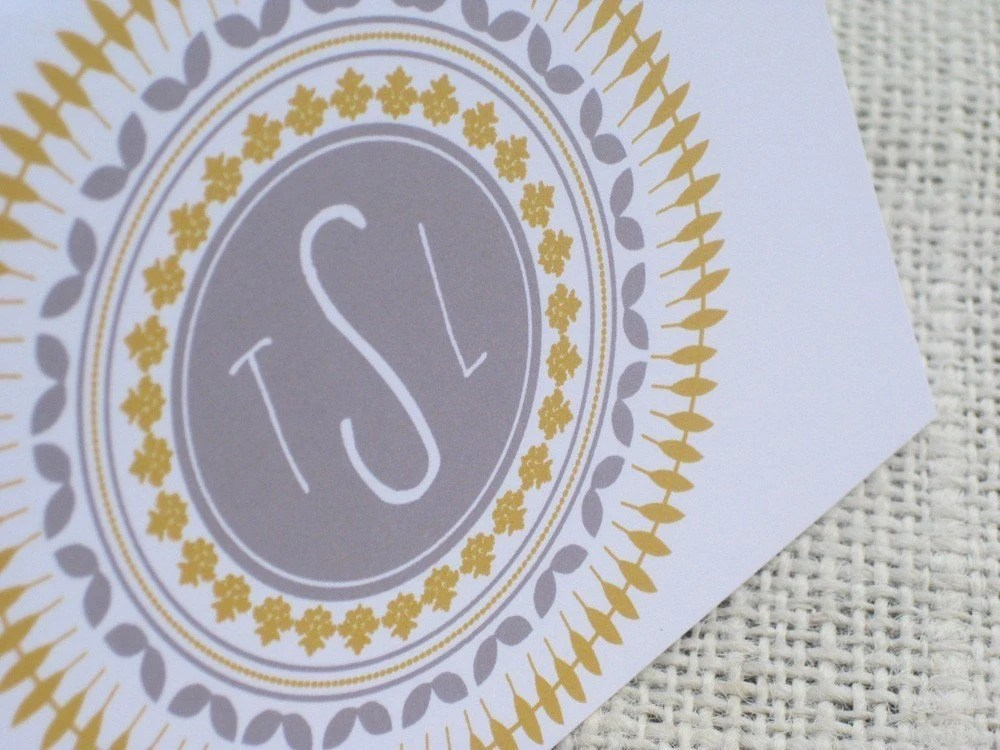 Fancy Circles Monogram Cards