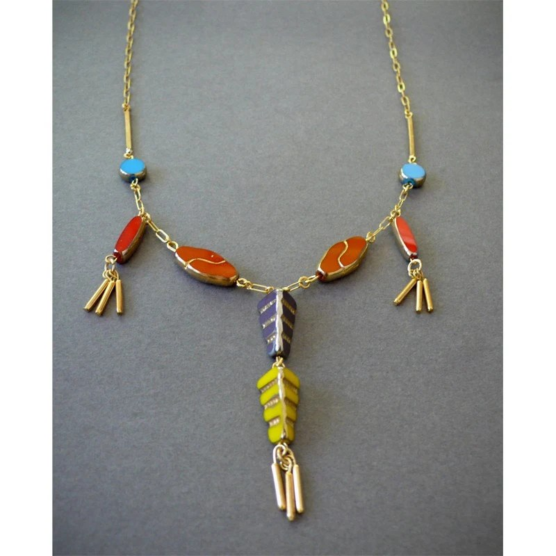 Vintage Czech glass Deco fringe necklace by thelooksee