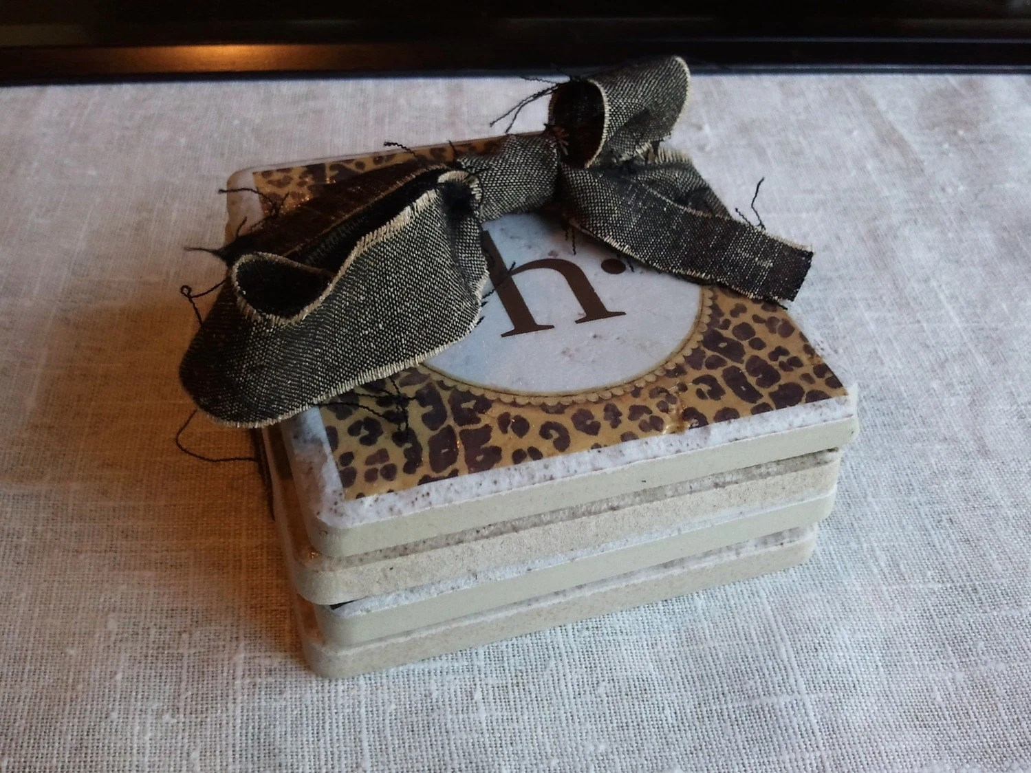 Leopard Print Monogram Tumbled Marble Coasters (set of 4)