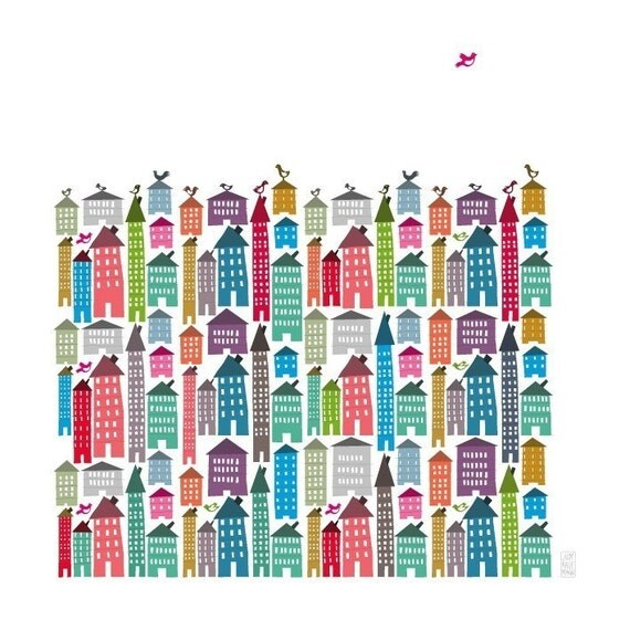 Houses and Birds Print