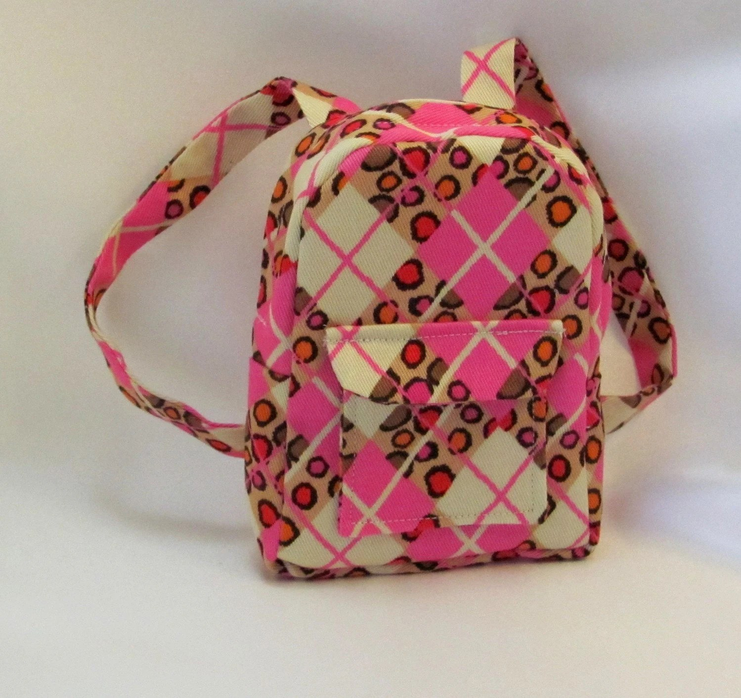 Pink Argyle Backpack for dolls