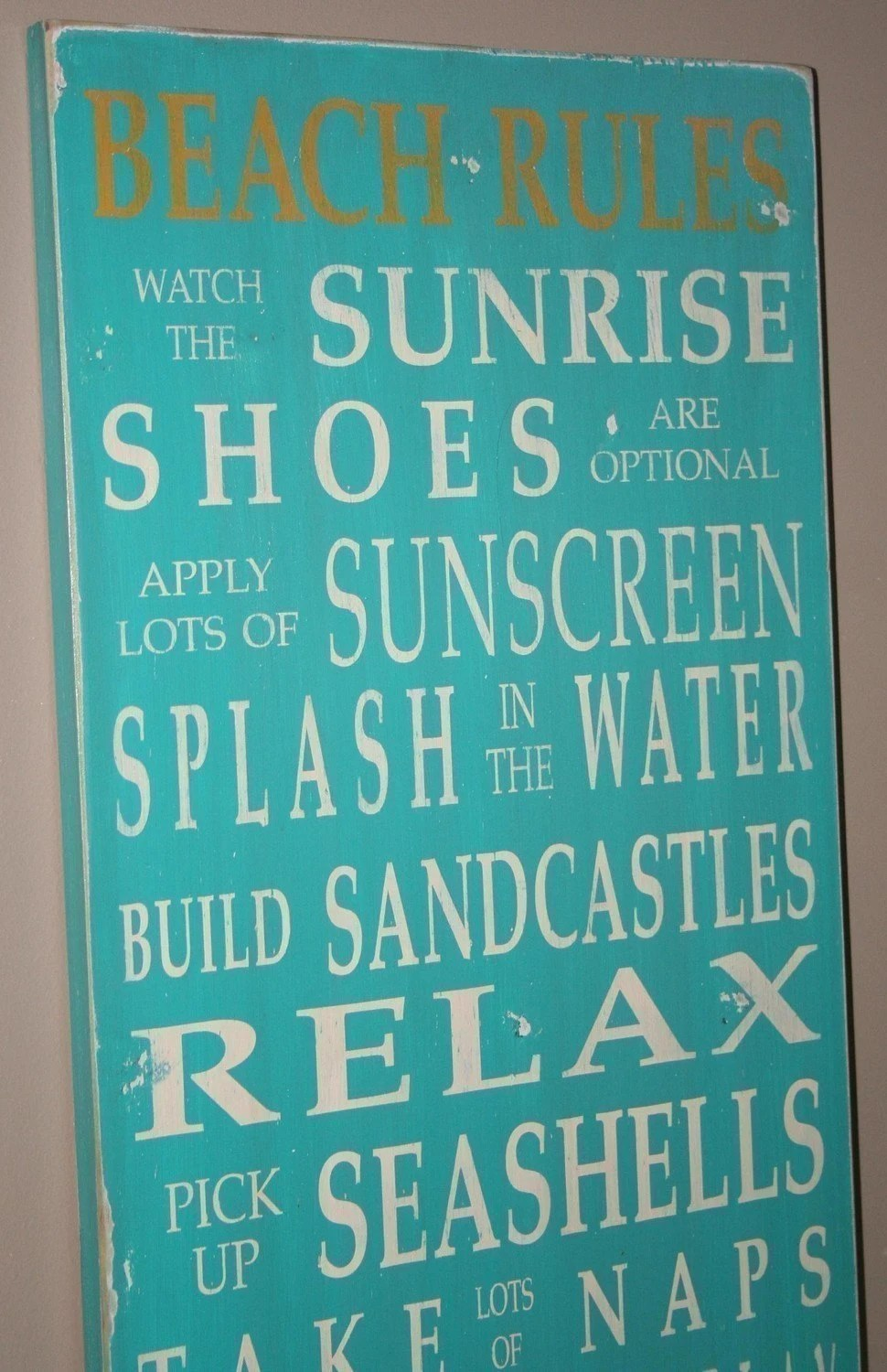 Beach Rules Vintage Style Typography Word Art Sign in Aqua
