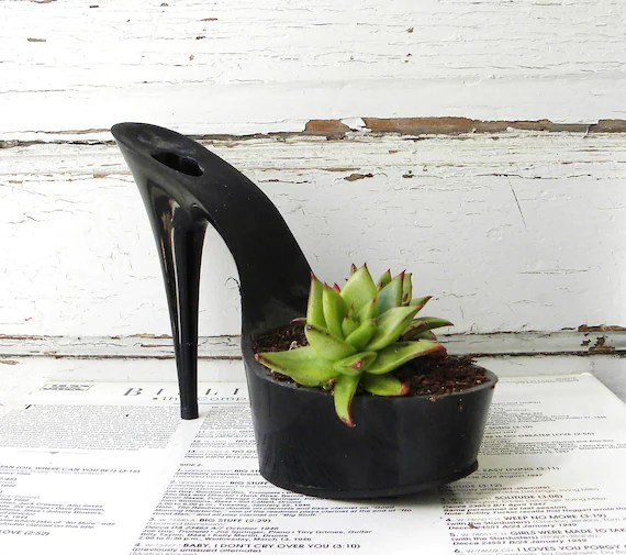 lady pirate. reclaimed stiletto succulent planter