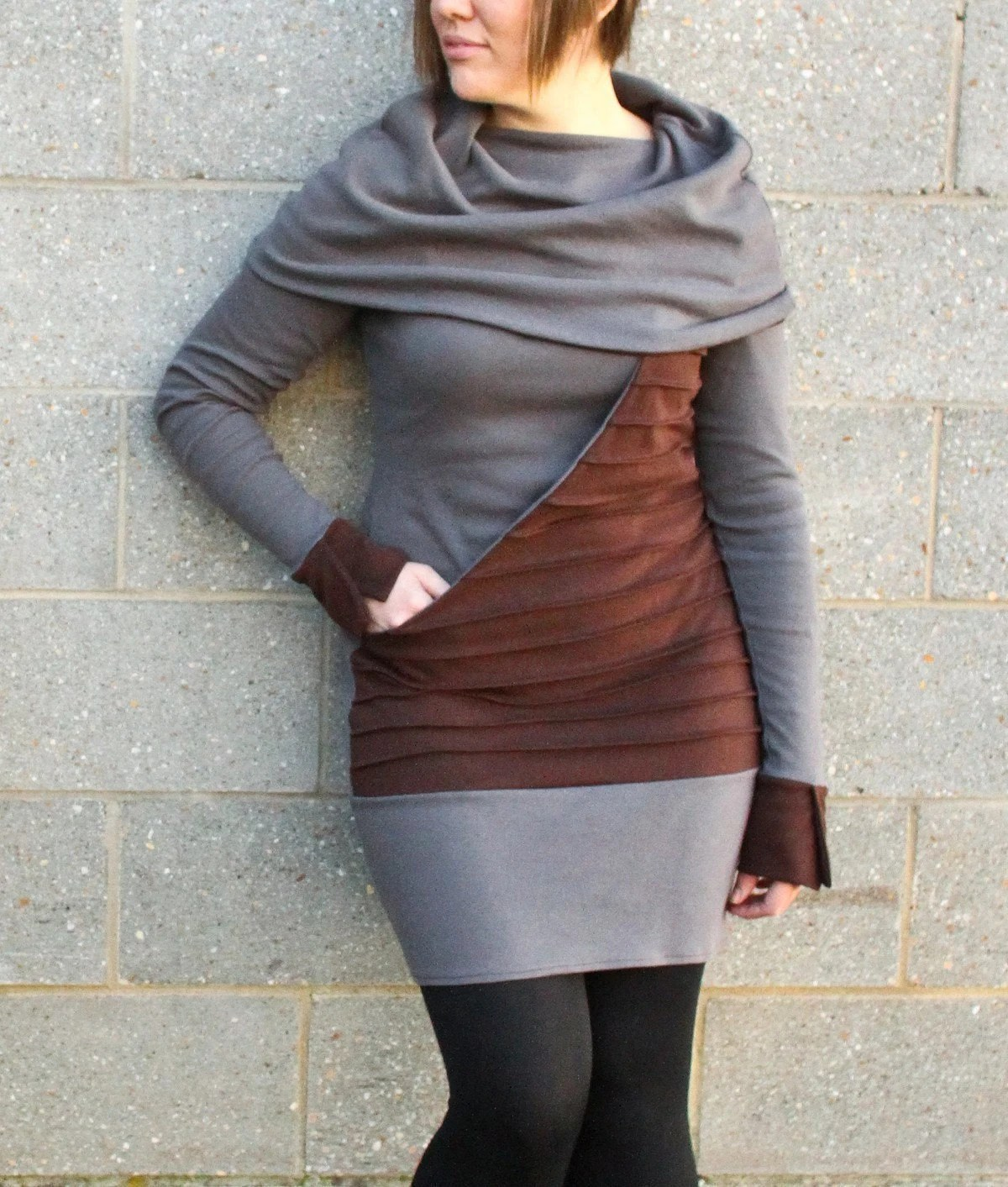 COTYLEE Huge cowl neck dress with kangaroo pocket-MADE TO ORDER