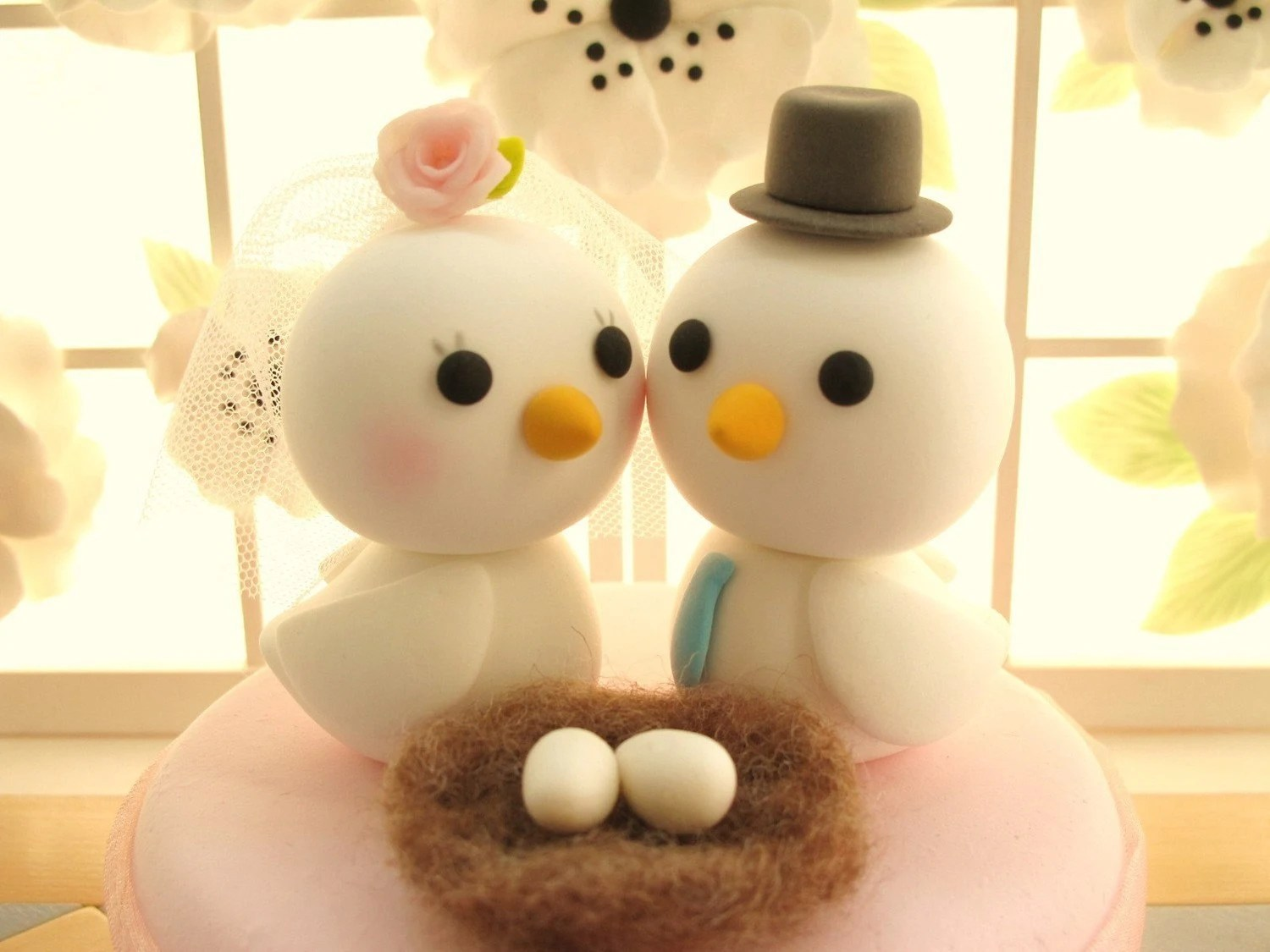 PROMOTION-------LOVE ANGELS Wedding Cake Topper-love bird