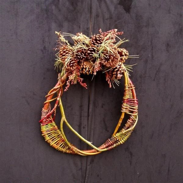 Wreath w/willow weaving & pinecones by lindaworks