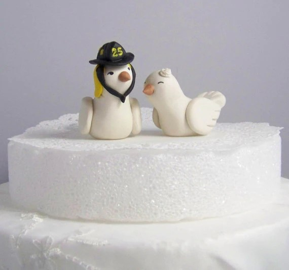 Hand Sculpted Cake Topper High Fashion Nuzzling Firefighter Love Birds Color of Choice