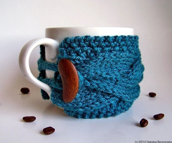 Teal Cup Cozy, Blue Mug Sleeve, Nautical Regatta Curacao Turquoise Topaz Coffee Tea, Green Peacock, fresht, fttt dreamt elitett