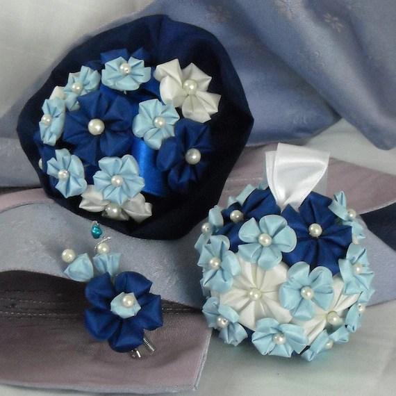 Spring Blue-Tsumami Kanzashi Inspired Bouquet