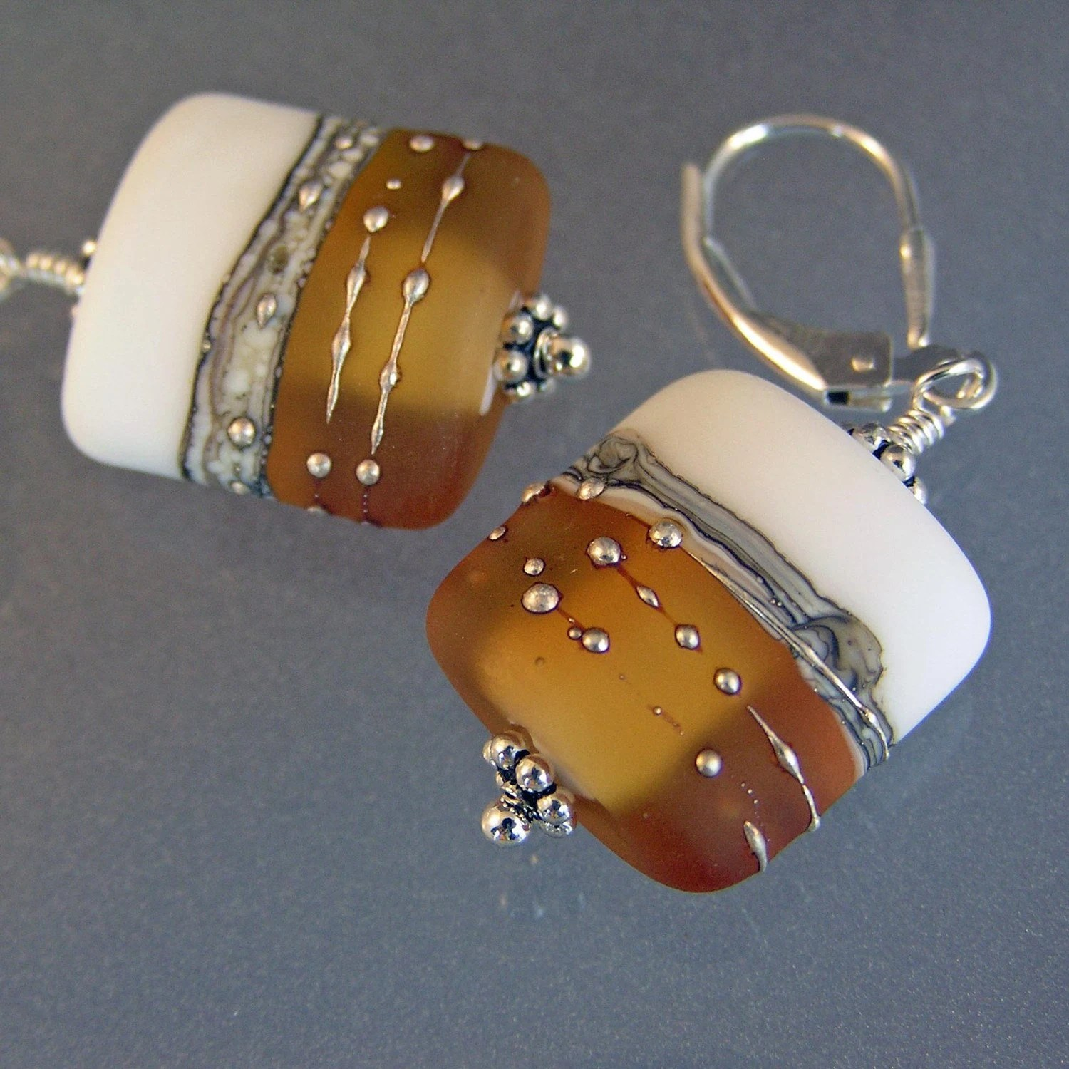 Cognac and White Etched Lampwork Earrings