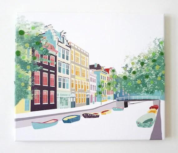 Bloemgracht - stitched cityscape canvas print