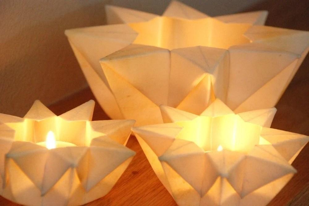 Three Lunar White Waldorf Star Lanterns