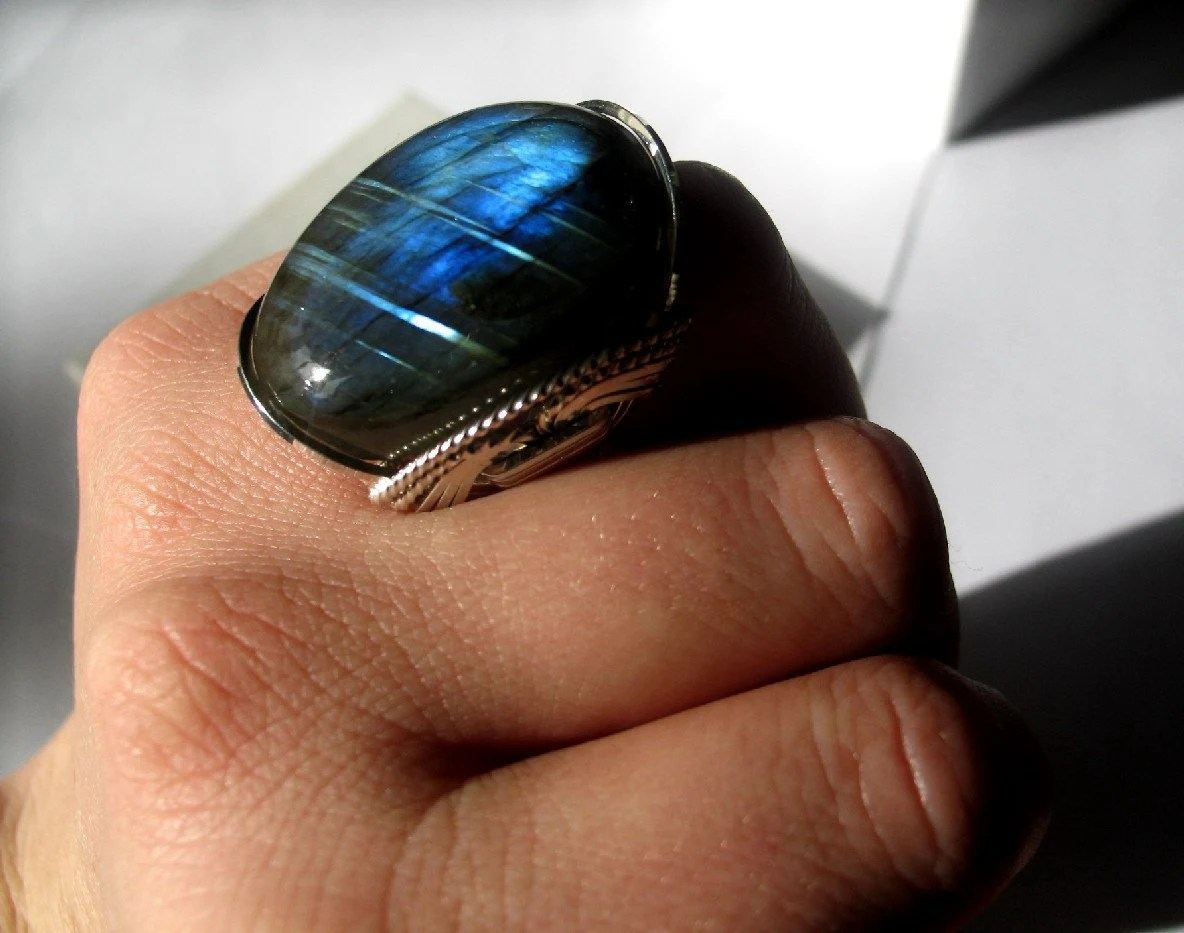 Flashy Labradorite Ring Lightning Storm Big Bubble Striped Gemstone - Wire Wrapped Can Make Any Size