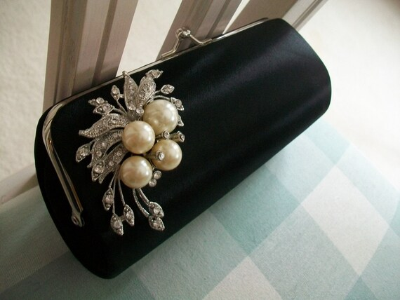 Bridal Clutch Adorned With Pearls And Rhinestones...Ready To Ship