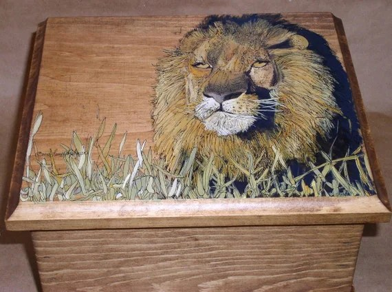 Handpainted Lion Wood Hinged Box
