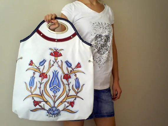 IZNIK TILE Handpainted Hand Bag Purse
