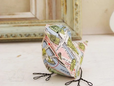Vintage Map Paper Bird - Paris France