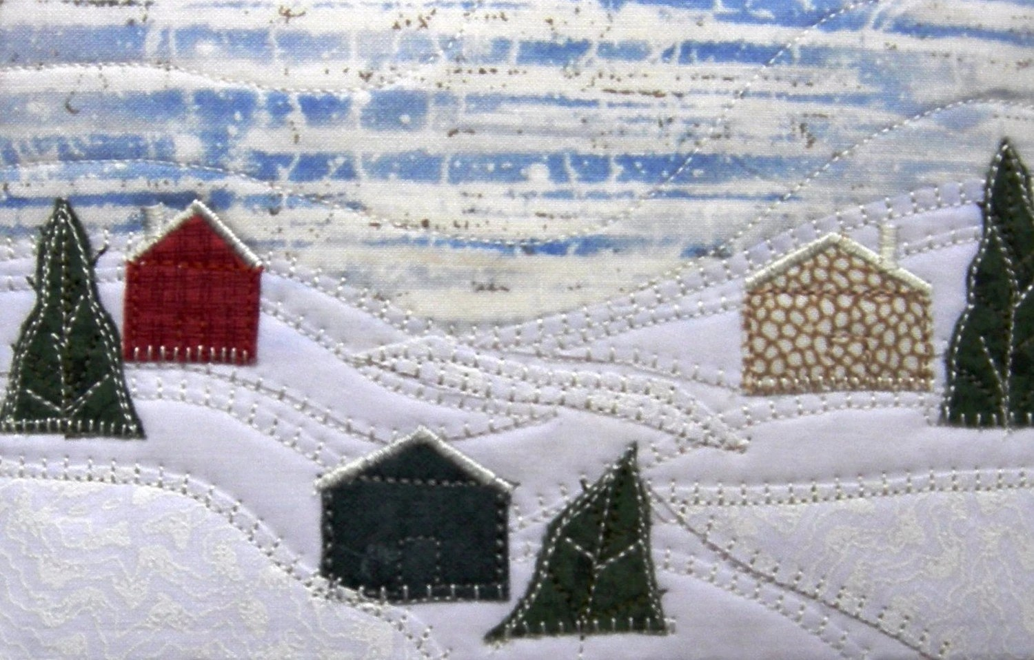Country Snow Scene Fabric Postcard Art Quilt