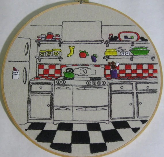 Fun Retro Kitchen Embroidery