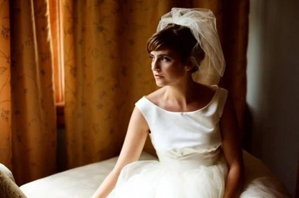 Vintage Inspired Short 1950s Tulle Wedding Dress