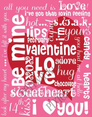 Be Mine Valentine Subway Art Typography PRINTABLE 11 X14