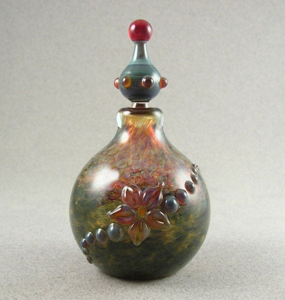 Floral Bulb 2 - Blown borosilicate stoppered bottle vessel by Beau Barrett