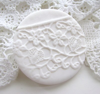 redstitchlab polymer clay lace brooch