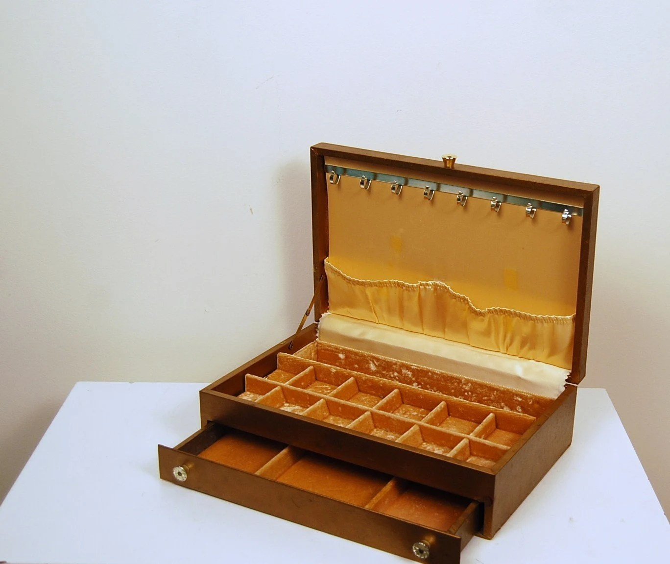 Vintage Gold Gem Jewelry Box