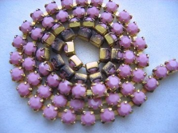 Swarovski Rhinestone Chain  - Rose Alabaster Crystals - 15ss - Prong Set - Vintage - Last 3 ft
