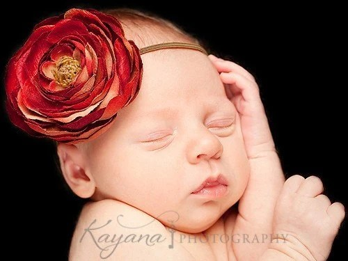 Pomegranate Red Vintage Inspired Flower Headband made for Newborn, Infant, Baby, Girls, Toddler, and Adults perfect for photography props