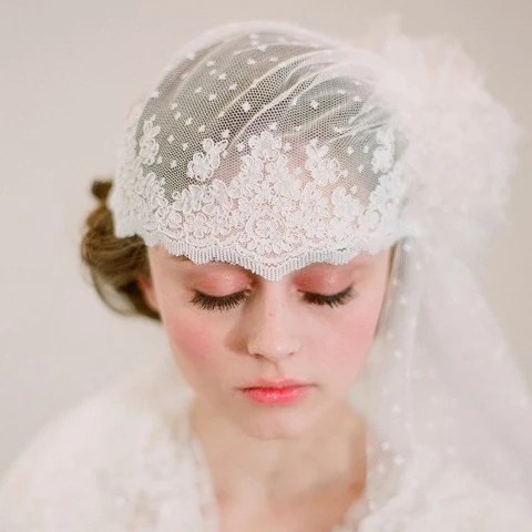 French inspired bridal lace cap with veil - Style 103 - Made to Order