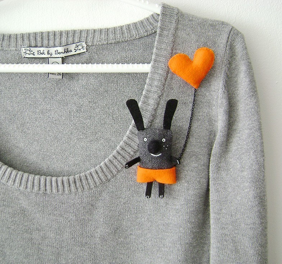 Bunny Brooch - I have a Zebra Heart
