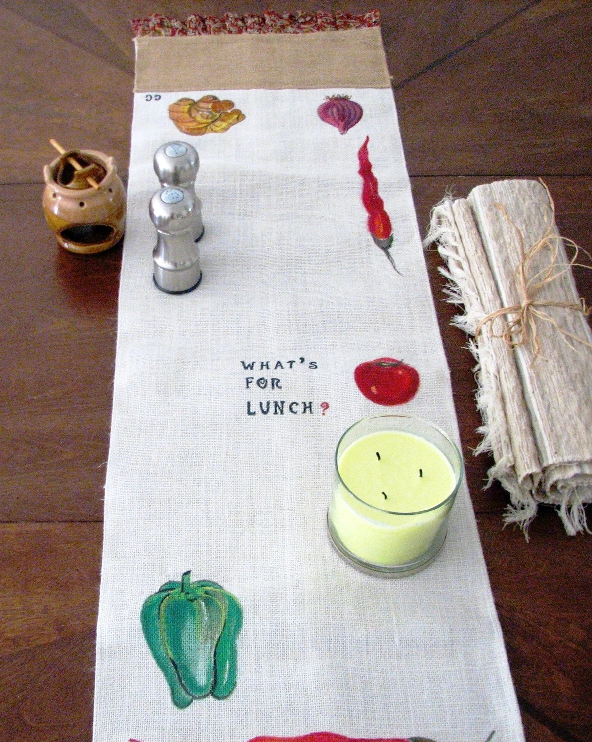 Handpainted Jute/Burlap Table Runner Dining Decor Ecofriendly Art Veggies What's For Lunch