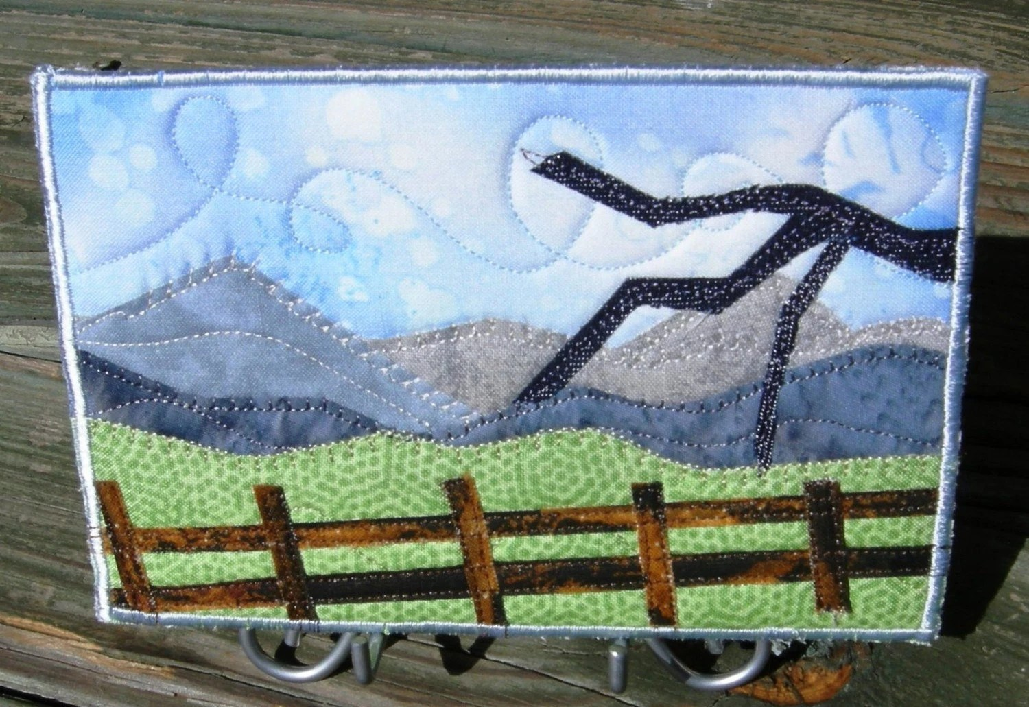 Looking Over The Land Fabric Postcard Art Quilt