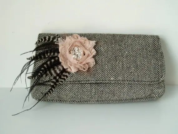 Black and Antique Pink - Tweed Clutch Purse with Shabby Chic Flower and Feather Embellishment