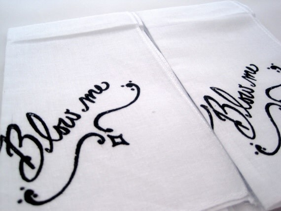 Set of 2 Hand Screened Mens Handkerchiefs, Blow Me