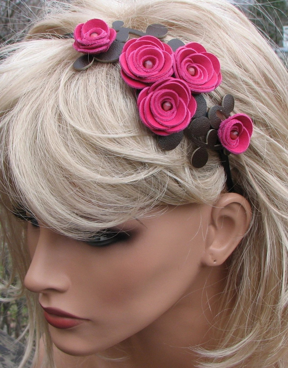 Floral Headband with Hot Pink Leather Roses and Moss Green Leaves on Black Metal Hairband, Prom