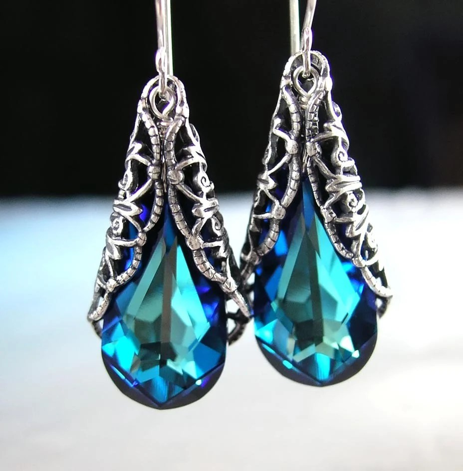 VICTORIAN FILIGREE Earrings, Swarovski Bermuda Blue Green Crystal, Oxidized Sterling Silver