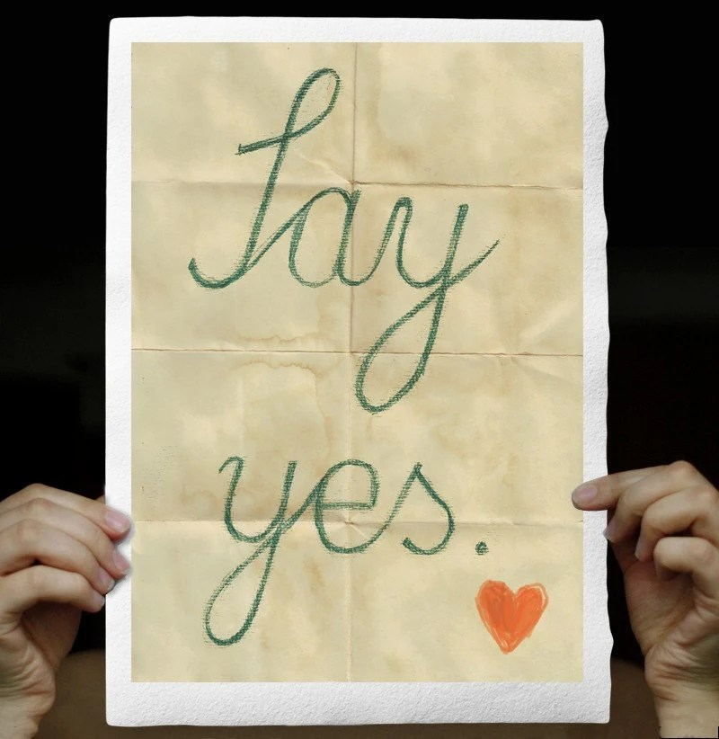 SAY YES, Typographic Fine Art Print, handwritten words on Handmade Watercolor Paper 8x12 inches, Wedding gift,