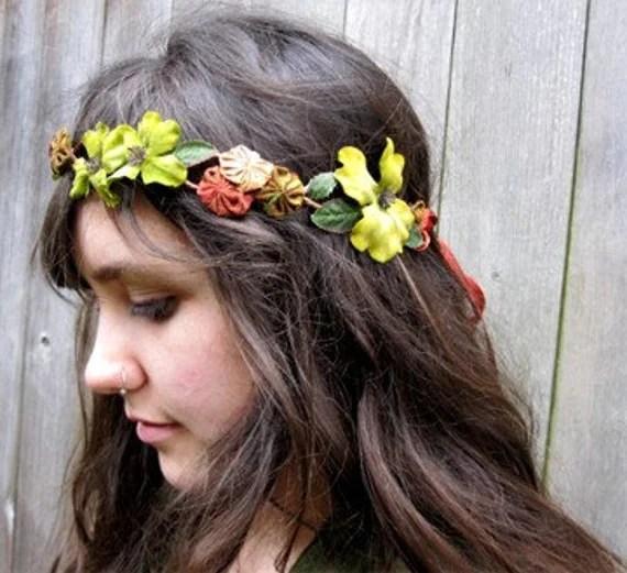 Floral Headband - Enchanted Citron Velvet Dogwood Flower Hair Wreath, Crown