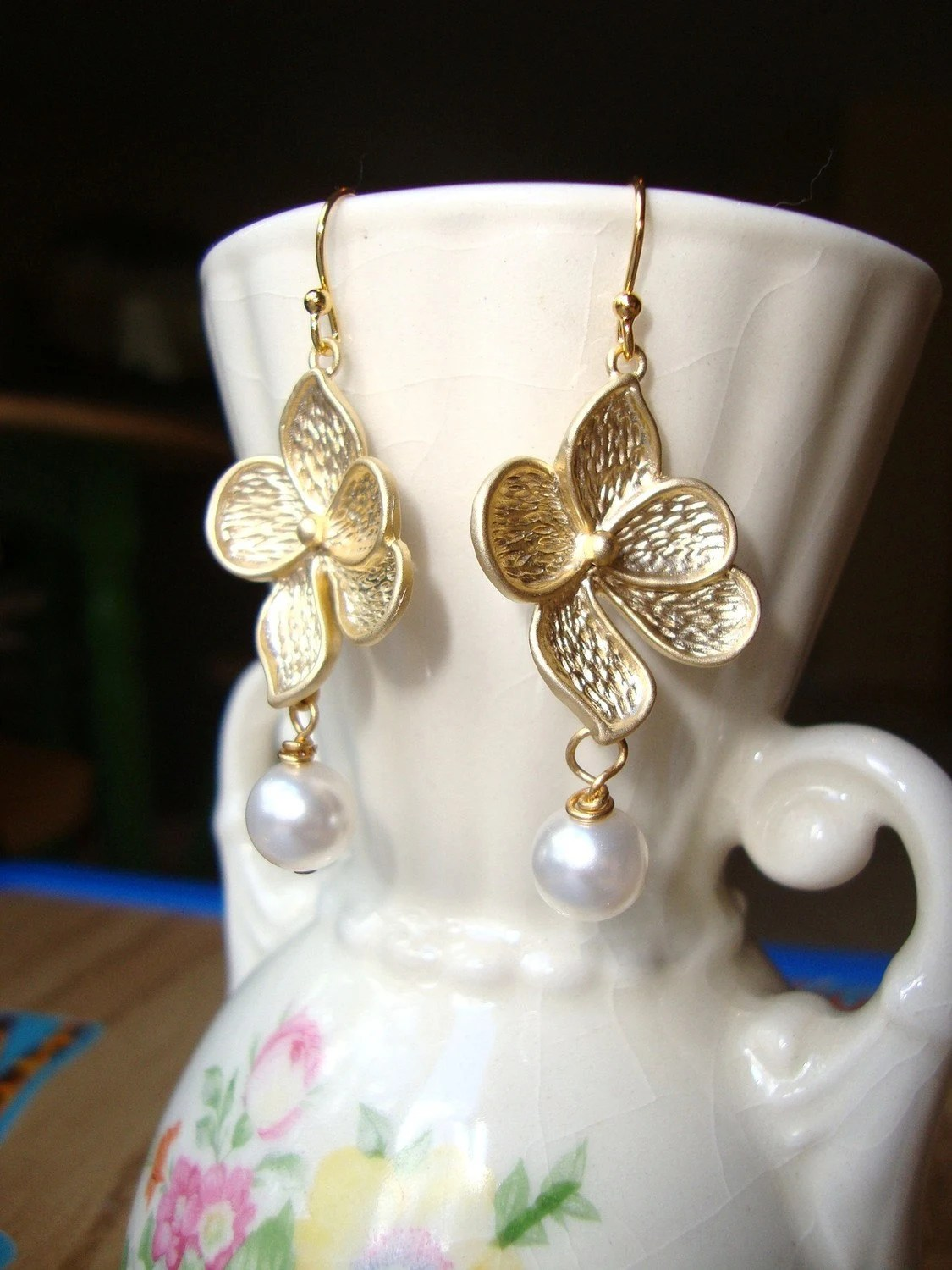 Dogwood Gold Flower and Pearl Earrings