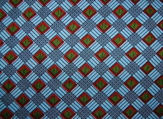 African Fabric 1/2 Yard Cotton BLUE RED GREEN Abstract